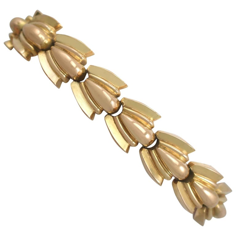 1940s French Art Deco 18 Karat Yellow Gold Bracelet