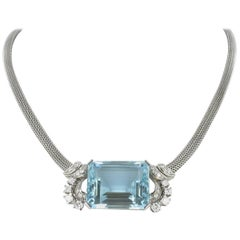 Aquamarine and Diamond Gold Necklace