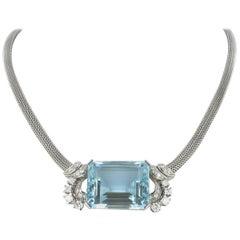 Aquamarine and Diamond Gold Necklace