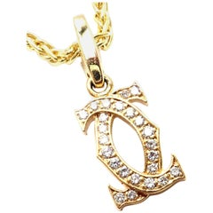 Cartier Diamond Double C Yellow Gold Pendant Necklace