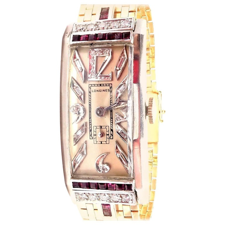 Longines Platinum Yellow Gold Diamond Ruby manual Wristwatch