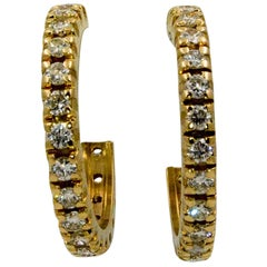 18K 1.80 Carat Diamond Gold J-Hoop Earrings