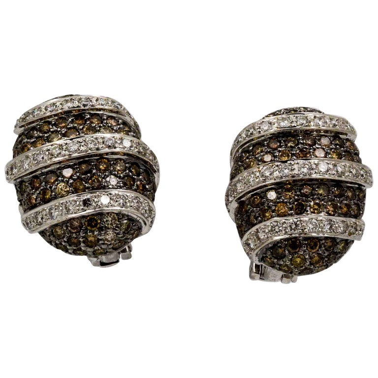 3.00 Carat Brown Diamonds 1.40 Carat White Diamonds Earrings
