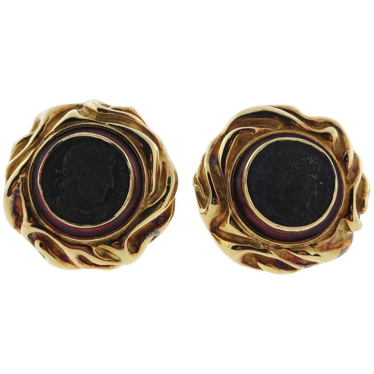 Elizabeth Gage Coin Earrings, circa 1994