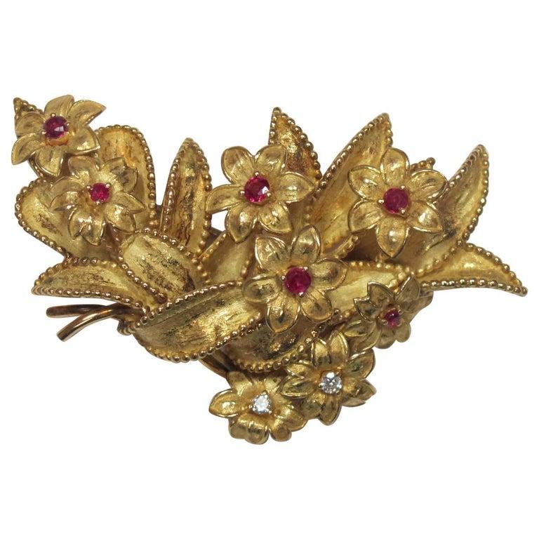18 Karat Yellow Gold, Ruby and Diamond Brooch