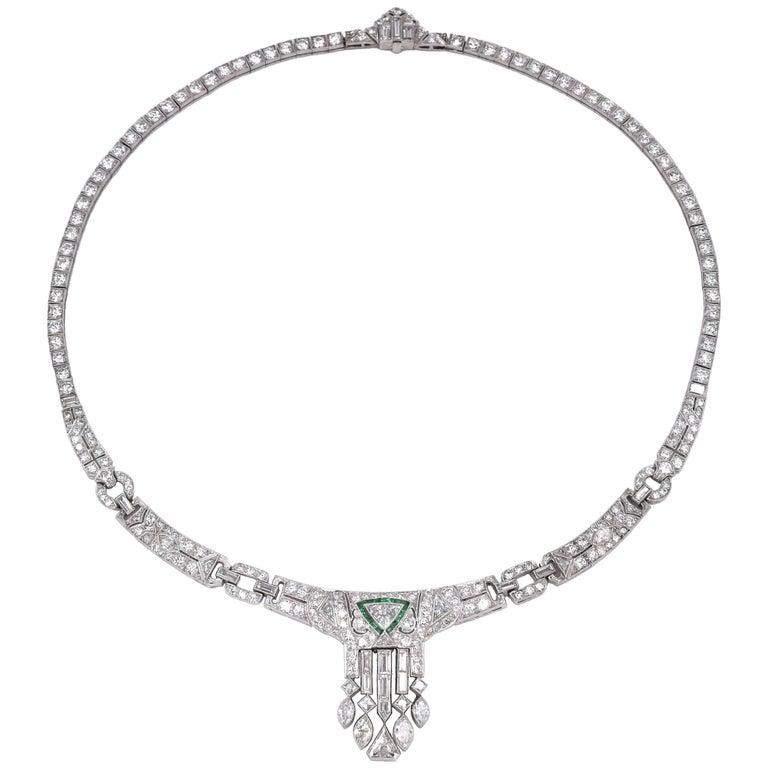 Art Deco Diamond Necklace For Sale