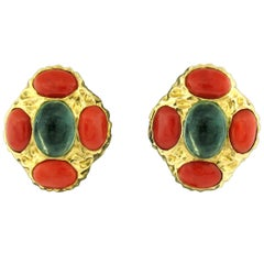 Tony Duquette Florite and Coral Earrings in 18 Karat Gold