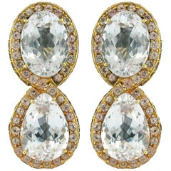 Tony Duquette Kunzite and Garnet Earrings in 18 Karat Gold