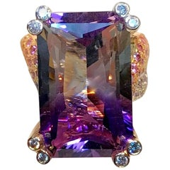 One-of-a-Kind 20 Carat Natural Purple and White Bi-Color Amethyst Ring