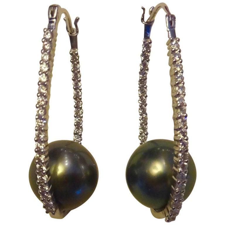 Michael Kneebone Tahitian Pearl Diamond Platinum Inside Outside Hoop Earrings