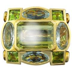 Tony Duquette Citrine, Aquamarine and Peridot Ring in 18 Karat Gold