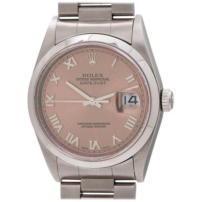 Rolex Stainless Steel Datejust Salmon Dial Self winding Wristwatch, circa 1999