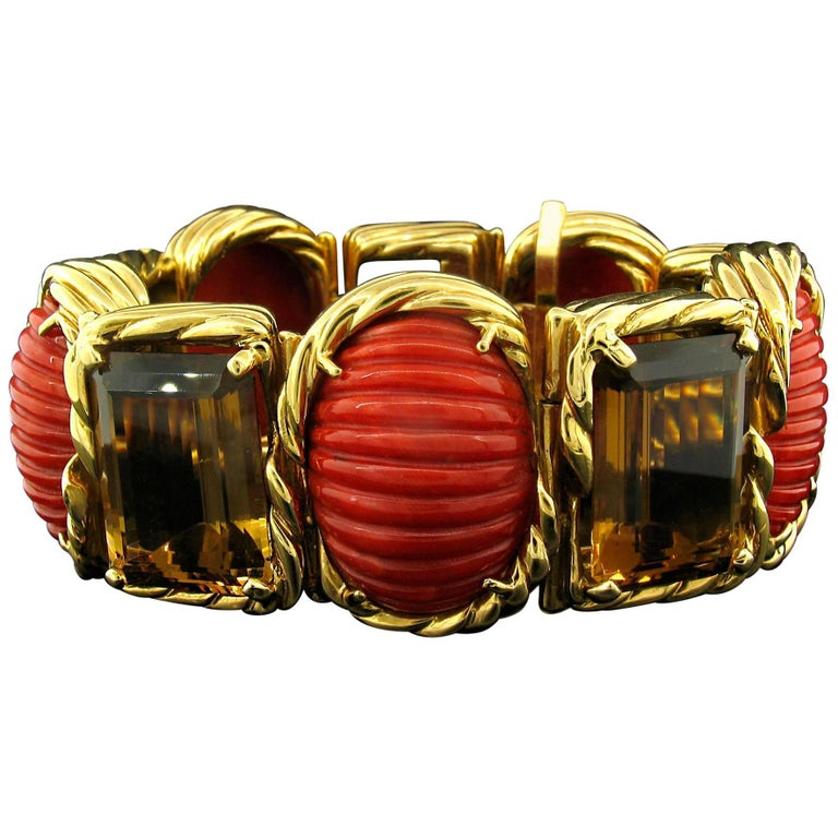 Tony Duquette Coral and Citrine Bracelet in 18 Karat