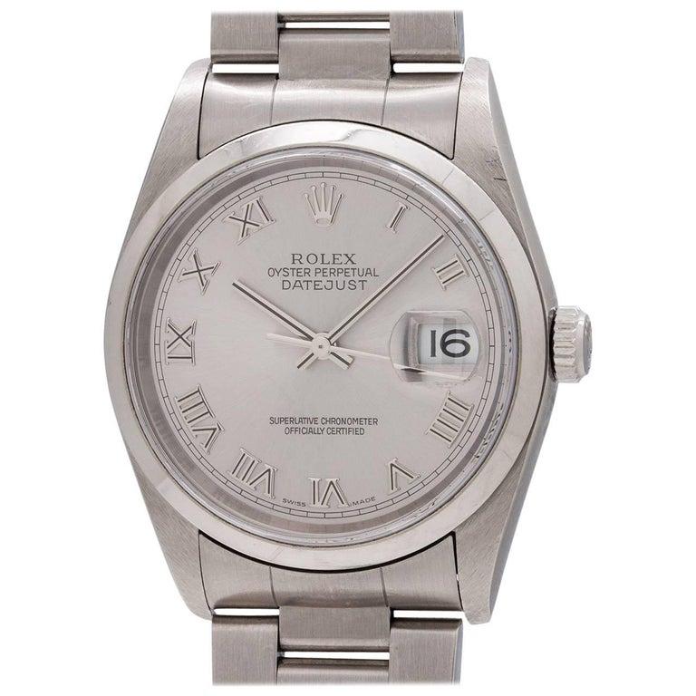 Rolex Rhodium Stainless Steel Datejust Roman self winding Wristwatch, circa 2003
