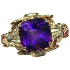 8 Carat Purple Amethyst Phoenix Rising Ring