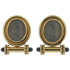 Elizabeth Locke Pearl Venetian Glass Intaglio 18 Karat Gold Necklace