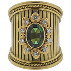 Elizabeth Gage Green Tourmaline Diamond Gold Ring
