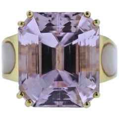 20 Carat Kunzite Diamond Mother-of-Pearl Gold Ring