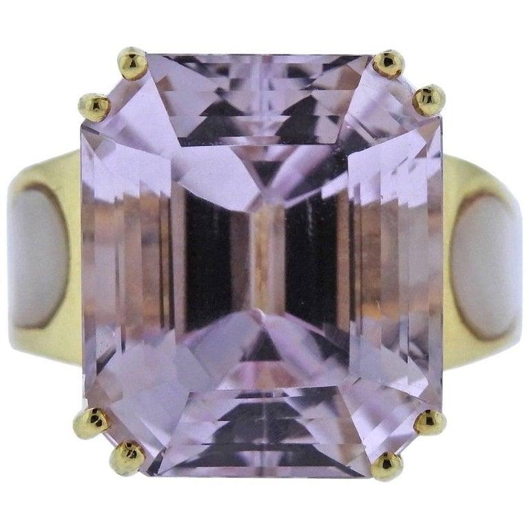 20 Carat Kunzite Diamond Mother-of-Pearl Gold Ring