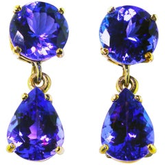 7.56 Carat Tanzanite White Gold Stud Earrings