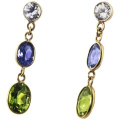 Sapphire, Tanzanite, Peridot 14 Karat Yellow Gold Stud Earrings