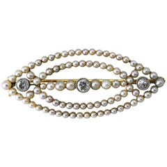 Early 20th Century Seed Pearl and Diamond Brooch