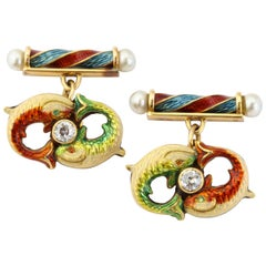 Antique English Yellow Gold Cloisonné Enamel Diamond and Pearl Fish Cufflinks
