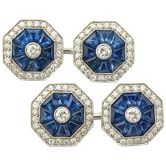 Art Deco Sapphire and Diamond Cufflinks
