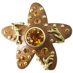 Seaman Schepps Wood and Citrine Starfish Brooch