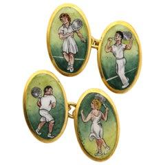 Vintage English Enamel Tennis Cufflinks