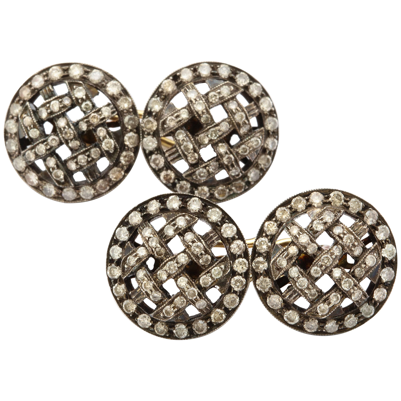 Anitque Silver on Gold Diamond Cufflinks