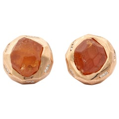 Michael Kanners Rough Mandarin Garnet and Diamond Cufflinks