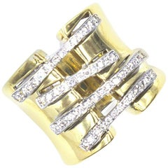 Diamond 18 Karat Two-Tone Gold Corset Wide Band Ring