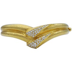 Hammered Gold and Diamond Cuff Bracelet