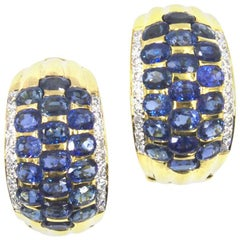 Sapphire Diamond 18 Karat Yellow Gold Ribbed Earrings