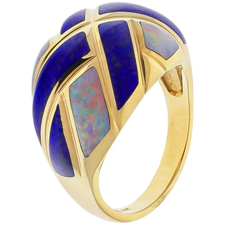 Kabana Lapis Lazuli and Opal Dome Ring For Sale