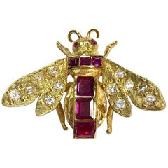 Vintage Ruby and Diamond Yellow Gold Bee Pin