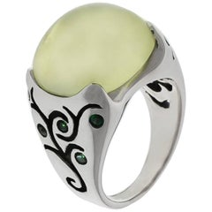 Mark Patterson Lemon Quartz Cabochon and Tsavorite Ring
