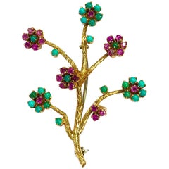 Vintage Ruby and Turquoise Articulating Flowers Gold Pin