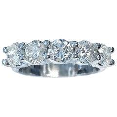 2.45 Carat of Diamonds White Gold Five-Stone Band