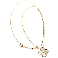 Van Cleef & Arpels Alhambra Diamond Grey Mother-of-Pearl Rose Gold Necklace