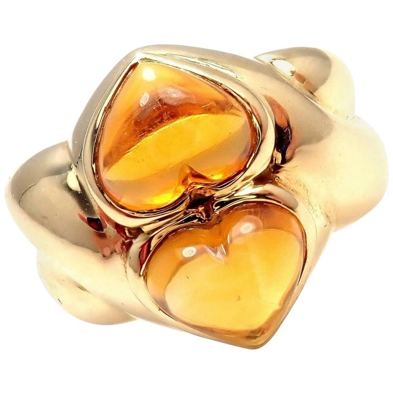 Bulgari Citrine Yellow Gold Ring