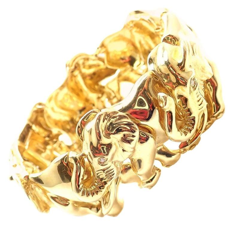 Estate Diamond Wide Elephant Yellow Gold Bangle Bracelet