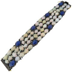 Yellow Gold and Oxidized Silver Diamond, Opal and Tanzanite Bracelet