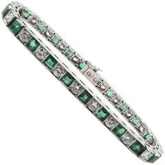 Semi Flexible Diamond and Emerald Bracelet