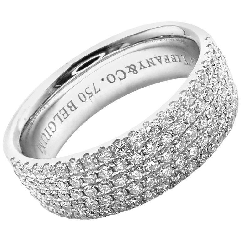 Tiffany & Co. Metro Diamond Five-Row White Gold Band Ring