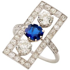 Platinum Art Deco Sapphire Diamond Floating Plaque Ring