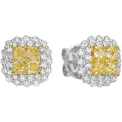 Gilin Illusion Yellow and White Diamond Earrings