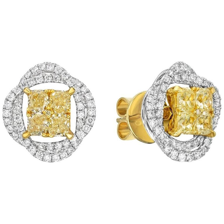 Gilin Illusion Yellow and White Diamond Earrings with Jackets
