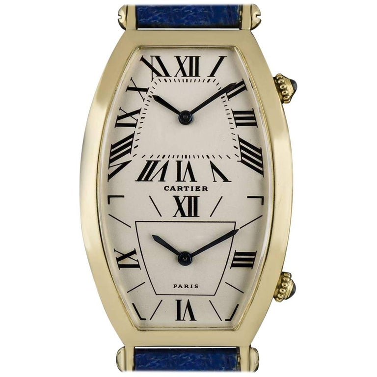 Cartier Gold Tonneau Cintree Dual Time Mid-Size Quartz Wristwatch